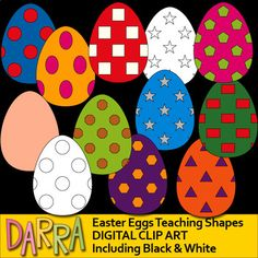 Easter Eggs Clip Art for Teaching Shapes. A fun design of Easter eggs with basic shapes patterns. This clipart collection will make it easy for teachers to teach basic shapes to kids.It will be fun to use this collection for any school and classroom projects such as for creating bulletin boards, study materials, learning worksheet, activities and games, and for more educational and fun creative projects!Format File: PNG (300dpi)Small business Commercial use and non-profit/personal license…