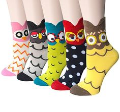 5 Pairs Womens Cute Animal Cotton Colorful Girls Casual Crew Socks by Chalier at Amazon Women's Clothing store: