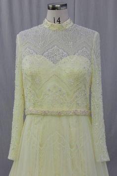 Style C2015-RG - Plus Size Pastel Yellow Long Sleeve Lace Wedding Dress