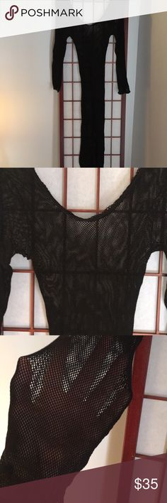 "Fishnet body wear -OS Black cotton stretch scoop neck long sleeve body "" stocking"" -fits all -one size -can be intimate wear/day wear under dresses/pants etc -lightweight, rolls into a ball for travel -sexy addition to anyone's wardrobe Intimates & Sleepwear Chemises & Slips"