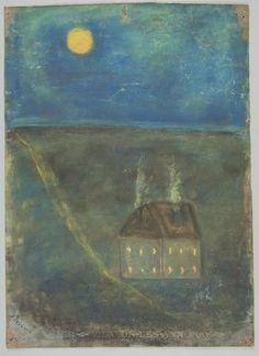 Olga Boznańska, Dziecięca praca artystki - Nokturn - pejzaż z domem w noc księżycową