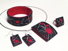 """""""lava bubbles"""" (gentle version) - necklace, bracelet, earrings and ring 