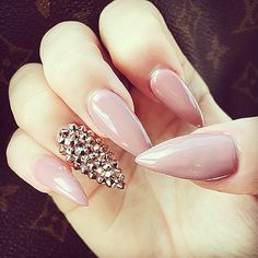 Pink nude and rhinestone claw nails...gorgeous! #Laque #laquenailbar #getlaqued