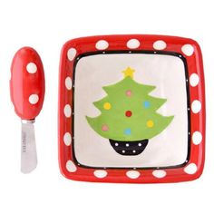 Amazon.com: Mainstreet Collection Christmas Cheese Plate/Bowl with Spreader (Christmas Ornament/Green & White Polka Dot Trim): Kitchen & Dining
