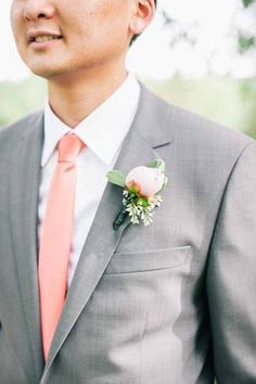 coral and grey suit