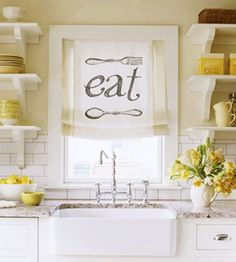 BHG | quirky shade + open shelving + farmhouse sink