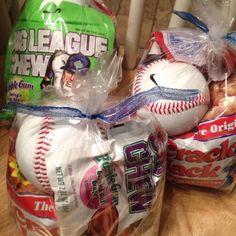 Baseball treat bags....sunflower seeds, cracker jacks, big chew gum, baseball, and a Gatorade. Great gift for a little boy or Anisten.