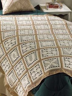 Alphabetically Here is an afghan done with alphabet blocks alternating with geometric design blocks. Crocheted with size 10 crochet cotton in tan and off-white and a C hook, the blocks are stitched first and then are joined together with a simple chain-stitch border. Skill Level: Easy Designed by Hartmut Hass Free Download