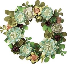 Succulent Wreath Kit This lush succulent wreath is sure to put a spring in your step and freshen up any space! Kit makes one wreath approximately 16 in diameter. Paper Succulents, Faux Succulents, Paper Flower Wreaths, Paper Flowers, Felt Flowers, Christmas Door Decorations, Holiday Wreaths, Diy Paper, Paper Crafting