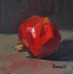 'Pomegranate Leaning' by Cathleen Rehfeld. Acrylic Painting Techniques, Acrylic Paintings, Oil Paintings, Food Painting, Color Studies, Still Life Art, Fruit Art, Oil On Canvas, Pomegranates