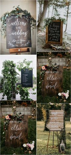 chic greenery wedding signs #weddingideas #weddingdecor