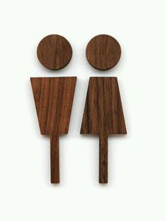 Love this toilet sign. Very elegant and classy. Walnut Wood Male & Female Toilet Sign by Hacoa - House Interior Designs