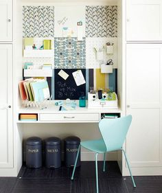 Check Out 23 Tiny Home Office Ideas To Inspire You. These clever tiny home office ideas prove you don't have to give up your workspace just because you live in a tiny space. Desk Nook, Office Nook, Home Office Storage, Home Office Organization, Home Office Space, Small Office, Home Office Design, Office Decor, House Design
