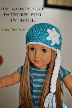 """Ice Queen Crochet Hat Pattern for 18"""" Doll (Mango Tree Crafts)"""