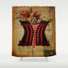 elegant girly newspaper print sexy black red corset vintage paris eiffel tower art Shower Curtain by chicelegantboutique - $68.00