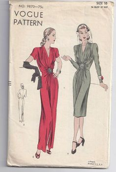 Vintage 40s VOGUE Pattern 9870 Sexy Shirred Evening Gown Party Cocktail Dress