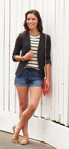 Dress up denim shorts with a classic blazer. The scallop details add a flirty and feminine feel while the leopard flats add a bit of sass.