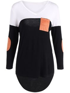 Patchy High Low Long Sleeve Tee