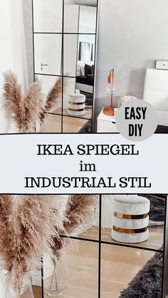Ikea Industrial, Industrial Mirrors, Industrial Style, Diy Décoration, Easy Diy, Super Simple, Ikea Raskog, Ikea Mirror, Diy Bedroom Decor