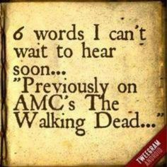 The words TWD fans are waiting for. The walking dead Walking Dead Zombies, Walking Dead Funny, Fear The Walking Dead, Just Keep Walking, Favorite Tv Shows, My Favorite Things, Dead Inside, Stuff And Thangs, Best Shows Ever