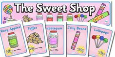 Sweet Shop Role Play Display Banner - sweets, shop, role play, play, pack, candy, candy shop, display, banner, sign, poster, lollipop, pick ...