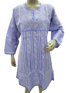 Amazon.com: Anarkali Tunic Top Light Blue Chikan Embroidered Boho Fashion Dress: Clothing #tunickurti #boho tunic #embroidered tunic #blouse top #mogulinterior.com