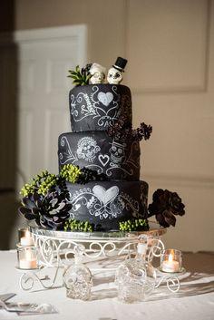 Chalkboard cake and VW buses: Hanna & Mark's eclectic retro and mod wedding Skull Wedding Cakes, Gothic Wedding Cake, Gothic Cake, Halloween Wedding Cakes, Unique Wedding Cakes, Unique Cakes, Mod Wedding, Wedding Ideas, Skull Cakes