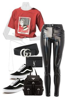 """""""Sem título #232"""" by guccislave ❤ liked on Polyvore featuring Topshop, Yves Saint Laurent, Estella Bartlett, Gucci, Vans and Prada"""