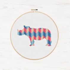 Rhino Cross Stitch Pattern Rhinoceros Polygon Geometric Pattern Mosaic Instant Download PDF Modern Cross Stitch Animal Patchwork Collage by Stitchonomy
