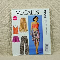 Top, Skirt and Pants, McCalls MP368 Pattern for Women, Shoulder Straps, Back Extends to Front, Ties, 2014 Uncut, Size 14 16 18 20 22, 4-oz by DartingDogPatterns on Etsy