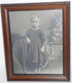 Antique 8 x 10 Photo of Young Boy in Frame Wall Hanging Ready 1920s