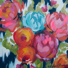 floral on navy and white 12x12 paper print from Kristy Gammill