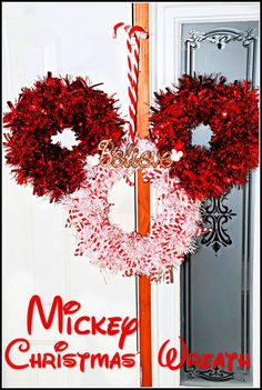 This Mickey themed wreath was surprisingly easy to make and turned out so cute I can't wait to make more as gifts! All supplies purchased at the dollar store. #12DaysofChristmasIdeas