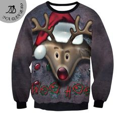 Europe and the United States New Winter hoodies women Santa Claus reindeer long sleeved blouse  correspondi SWYS005