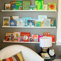 2 Girls, 1 Year, 730 Moments to Share: Ikea Photo Ledge Turned Bookshelf!