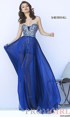 Strapless Romper with a Sheer Skirt by Sherri Hill at PromGirl.com