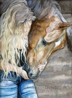 A Girl and Her Horse by kric on DeviantArt Horse Drawings, Animal Drawings, Cool Drawings, Drawing Faces, Drawing Art, Watercolor Horse, Watercolor Painting, Horse Sketch, Horse Artwork