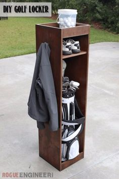 DIY Projects Your Garage Needs -DIY Golf Locker - Do It Yourself Garage Makeover Ideas Include Storage, Organization, Shelves, and Project Plans for Cool New Garage Decor Diy Projects Garage, Wood Projects, Woodworking Projects, Diy Projects For Men, Woodworking Workbench, Woodworking Furniture, Garage Organization, Garage Storage, Locker Storage