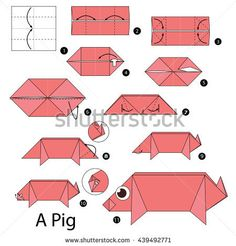 Mar 2018 - Step by step instructions how to make origami A Pig. Origami Pig, Origami Paper Folding, Kids Origami, Origami Ball, How To Make Origami, Paper Crafts Origami, Origami Stars, Paper Crafts For Kids, Origami Boxes