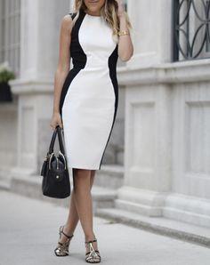 Obakki Black And White Sleeveless Side Panel Sheath Bodycon Midi Dress White Fashion, Look Fashion, Fashion Outfits, Womens Fashion, Fashion Tips, Dress Fashion, Pretty Outfits, Cool Outfits, Look Office