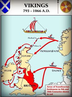 Map : Viking Settlements in the British Isles . - Because Vikings WERE part of British history, along with the Roman Empire. Something that I think is easily forgotten sometimes. European History, British History, World History, Ancient History, Family History, Viking Culture, Celtic Culture, Viking Life, Viking Art