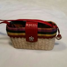 Genuine Brighton purse Red leather, plaid lining, wicker body. Perfect condition. Was a gift, used once. Brighton  Bags Mini Bags