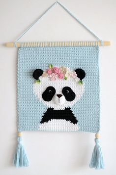 Wall hanging – Wall decor – Crochet decor – Nursery wall decor – Nursery wall hanging – Crochet panda – Crochet wall decor – Girl room decor - Sites new Crochet Panda, Girls Room Wall Decor, Nursery Wall Decor, Room Decor, Nursery Room, Bedroom Wall, Crochet Wall Hangings, Tapestry Crochet, Crochet Home
