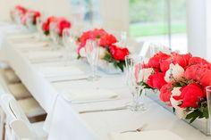décoration mariage, wedding, centerpiece, centre de table, rouge, red