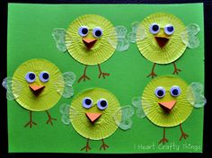 Cupcake Liner Chicks...cute for after our chicks hatch, we can label them with the names of our chicks.