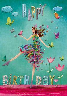 Happy Birthday card by Mila Marquis Happy Birthday Celebration, Happy Birthday Wishes Cards, Happy Birthday Flower, Birthday Blessings, Happy Birthday Pictures, Birthday Wishes Quotes, Birthday Cards, Happy Birthday Marina, Happy Belated Birthday