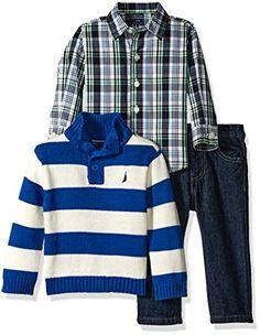 5fabf86a5 Nautica Baby Three Piece Set with Woven, Quarter Button Sweater, Denim  Jean, Medium Blue, 18 Months Woven button down shirt Rugby stripe quarter  zip button ...