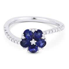1.07ct Pear-Shaped Sapphire & Round Cut Diamond Right-Hand Flower Ring in 18k White Gold - AlfredAndVincent.com