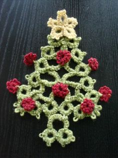 """Tatted Christmas Tree in Donegal Aran Tweed, needle tatted with a 12"""" mattress needle by Kersti Anear."""