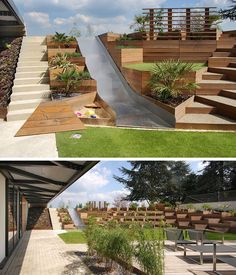 13 Multi-Level Backyards To Get You Inspired For A Summer Backyard Makeover! // Triangular terraced planters create a multilevel yard complete with a slide and sandbox for the kids.
